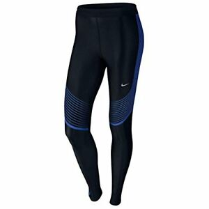 Nike Womens Power Speed Striped Running Tights Pants (X-SmallBlackRoyal Blue)