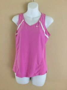 Used Women's Nike Fit Dry Sleeveless Athletic Workout Tank Shirt Bra Pink S