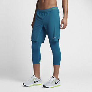 Nike AeroSwift 2-in-1 Hybrid 34 Mens Running Shorts Tights 852321 Blue - Large