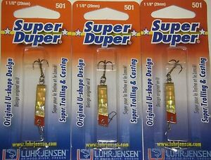 LUHR JENSEN SUPER DUPER TROUT FISHING LURES #1303-501-0151 BRASS GOLD PRISM 3 PK