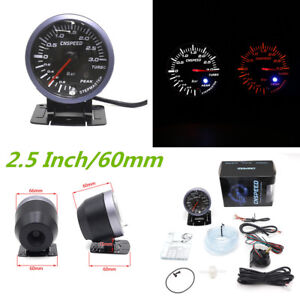 2.5 Inch 60mm Car Turbo Boost Gauge 0~3 (Bar) White&Amber Dual Led Display meter