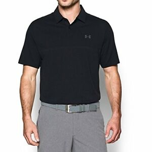 Under Armour Men's Tour Jacquard Polo BlackRhino Gray Small