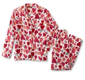 Joe Boxer 2 Piece Pajama Set Hearts Flannel Pjs Size M Medium New Fast Ship