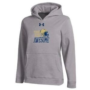 Youth Heather Gray Naval Academy Navy Under Armour Hoodie