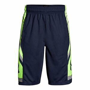 Under Armour Boys' Space the Floor Shorts Midnight NavyQuirky Lime Youth X-S