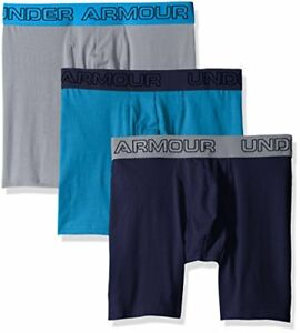 "Under Armour Men's Charged Cotton Stretch 6"" Boxerjock 3-Pack Bayou BlueMidni"