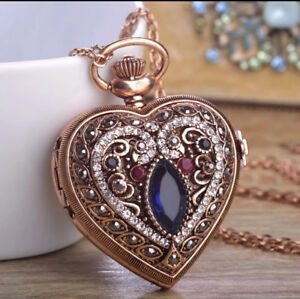 Turkish Heart Resin Pocket Watch Pendant Necklace Retro Antique Gold Crystal