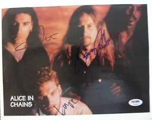 Alice In Chains Layne Staley +3 Band Signed Magazine Page Photo PSA Certified