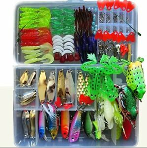 198 Pcs Set 1 Fishing Lure Tackle Kit Bionic Bass Trout Salmon Pike Ocean Boat
