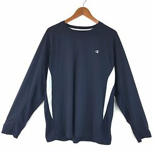Champion Men Shirt Top XL Fitted LS Double Dry Navy Active Fitness Running