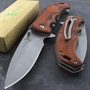 8.25quot; ELK RIDGE EDC BROWN PAKKAWOOD SPRING ASSISTED FOLDING POCKET KNIFE Blade $14.95