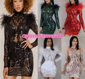 Women Long Sleeve Transparent Sequin Mesh Evening Sexy Pompom  Mini dress #K