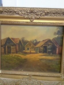 Antique oil painting on board $222.00