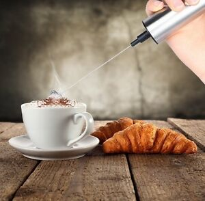 TECHO Battery Powered Stainless Steel Handheld Milk Frother Wand Stand Brush