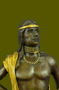 INDIAN CHIEF Bronze Statue Art Warrior Spirit American Native Lost Wax Method NR