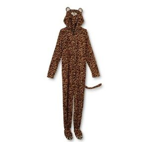 Joe Boxer Leopard Fleece One Piece Costume Pajamas Union PJs Hooded XL New