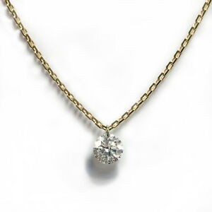 14K Yellow Gold Real Authentic Diamond VS 0.30 Carat Floating Stud Necklace