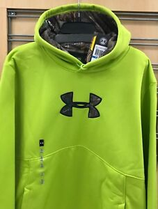 New $65 Under Armour Men's Hoodie Hooded Sweatshirt Loose Style Lime Green Camo