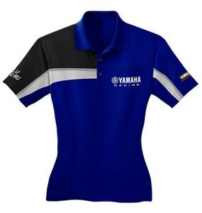 YAMAHA RACING WOMEN'S POLO SHIRT BLUEBLACKWHITE DRI-FIT MATERIAL #YRC-17PLS-L1