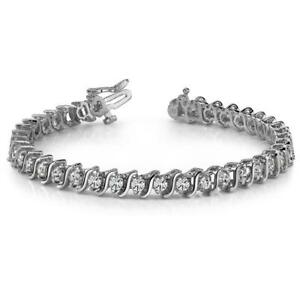 Women round diamond tennis S STYLE bracelet white gold 7.20 carats     WG9142