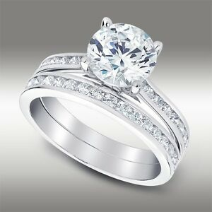 2.88 Ct Round Cut Engagement Ring with Matching Band Lab Diamond 14K White Gold