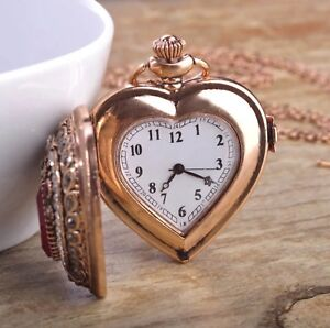 Turkish-Heart-Resin-Pocket-Watch-Pendant-Necklace-Retro-Antique-Gold-Crystal