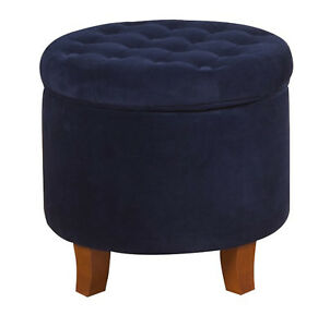 Ottoman Storage Round Tufted Foot Stool Seat Contemporary Living Room Furniture