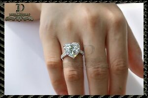 2ct Heart -Cut Diamond Solitaire  Engagement Ring 10k White Gold Finish