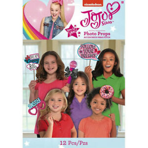 JOJO SIWA Pink PHOTO PROP SET 12 Birthday Party Supplies Decorations Favors $8.89