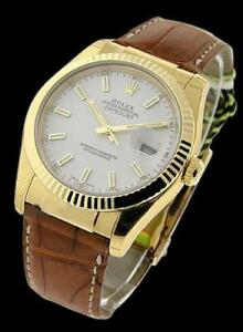 Excellent Vintage Rolex DateJust Mans Watch leather bracelet     FG11742