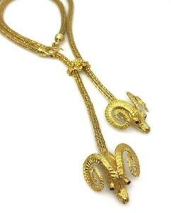 Lalaounis Large Ram's Head Tassle Necklace in 18k Yellow Gold--HM1927BZ
