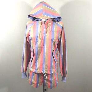 Deadstock NIKE Womens Medium Blue Tag Striped 2 Piece Pullover Jacket and Shorts