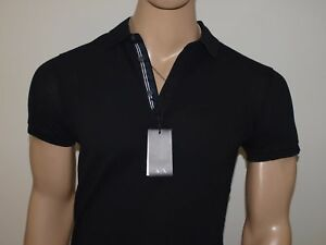 Armani Exchange Authentic Embroidered Logo Pique Stretch Polo Shirt Black NWT