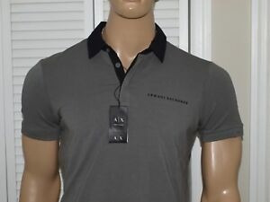 Armani Exchange Authentic Bicolor Logo Stretch Polo Shirt Gray NWT