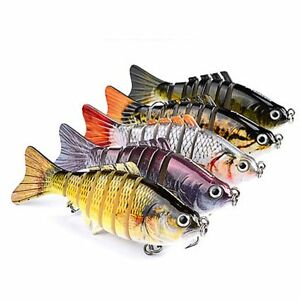 7 Segment Swimbait Lures Fishing Bait Fish Lure Crankbait Hooks 10cm