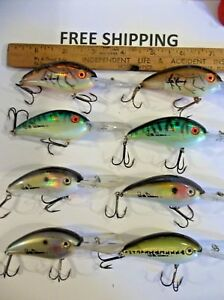 LOT OF 8 BOMBER EXCALIBUR BILL DANCE FAT FREE SHAD CRANKBAITS FISHING LURES