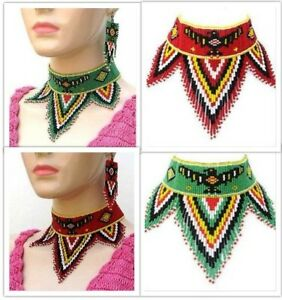 Handmade Fashion Jewelry Red Green Beaded Eagle Bead work Choker Necklace Set