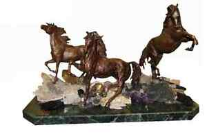Bronze horses rested on marble base with semi precious stones $3090.00