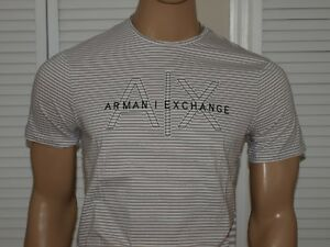 Armani Exchange Authentic Feeder Stripe Logo Regular Fit T Shirt Light Gray NWT