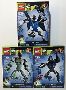 New 3 BEN 10 LEGO Swampfire BIG CHILL Chromastone 8410 8411 8519 Alien Force
