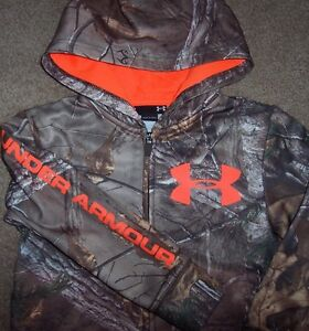 NWT Under Armour Full Zip REALTREE CAMO Hoodie Jacket 4 Boys NEON ORANGE LOGO