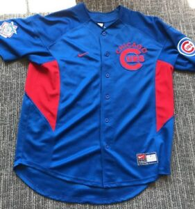Chicago Cubs MLB Nike Jersey Shirt Button Down Men's Medium Blue #22 Prior