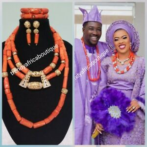 Combo  Edo coral necklace  set for bride. Original traditional  coral bead set