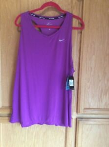 New Nike Women's Dry Racer Running Tank Top Shirt Purple size 1X 2X OR 3X DRYFIT