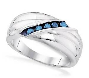 Men's Sterling Silver Blue Diamond Ring .925 Channel Set Wedding Band .33ct