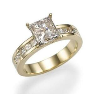 Women Diamond Ring Enhanced Solitaire With Accents 2.8 ct 14K Yellow Gold