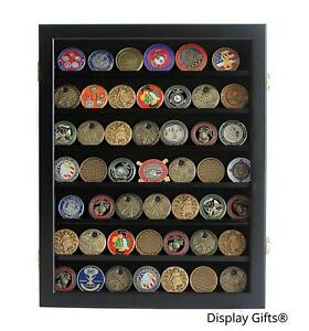 New Military Challenge Coin Casino Chips Display Case Wall Shadow Box, COIN46-BL