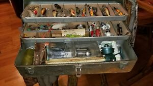 Old Metal Tackle Box full of lures hooks vintage reels scales knives et