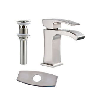 BWE Brushed Nickel Bathroom Basin Sink Faucet Waterfall Spout With 6 inch Cover
