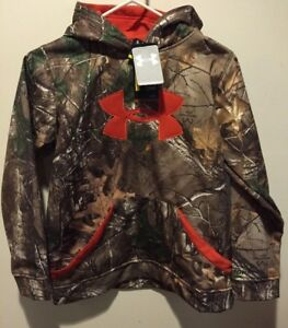 Boys Youth Large YLG Under Armour Loose Hoodie Camouflage w Orange UA Logo NWT